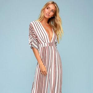 Hook, Line, and Sinker Rust Red Striped Jumpsuit